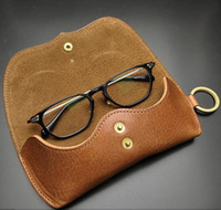 Wholesale High Quality Genuine Leather Glasses Sunglasses Case Soft Eye Wear Storage Box Hasp with Key Ring Luxury Eye Glasses Bag