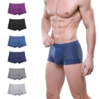 Wholesale New sexy men underwear brand boxers shorts mesh u convex bamboo men panties cool underpant male trunks