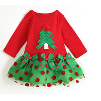Wholesale 2016 Fall Girls Long Sleeve Dress Tulle Princess Party Dress Christmas Custome Ruffles Christmas Tree Dot Print Kids Infant dresses