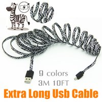 Wholesale 3M Micro USB Cable Charger Data Sync Nylon USB Cable For Android Smart Phone for tablet PC