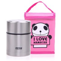 Cheap Stainless Steel Thermos Lunch Box Kids School Picnic Metal Food Container with Pink Panda Insulated Carry Lunch Tote Bag 550 ml