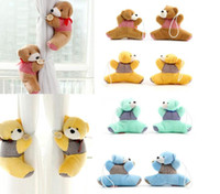 Wholesale 2x Fashion and Cute Plush Bear Winne Window Curtain Holder Tieback Buckle Clamp Hook Fastener Curtain Accessories