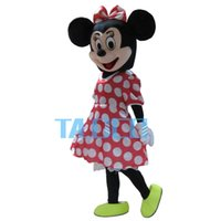 Wholesale Hot Sale Red Minnie Mouse mascot costume Adult Size Fancy Dress Holloween Costume EPE Head