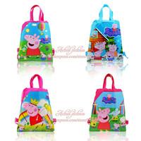 backpacks favors - Min Quantity Cute Pig Childrens Hot Cartoon Drawstring Backpacks School Bags Shopping Bags Kids Party Bags cm Kids Favors