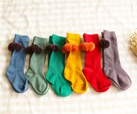 baby hosiery - Children Baby Legs Warmers Socks Grils Soft Cotton Cute Fur Ball Knee High Hosiery Baby Stockings