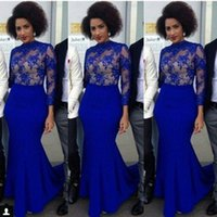 arabic style prom dresses - 2016 Royal Blue Arabic Dresses Mermaid Evening Wear Jewel Sheer Neck Long Sleeves Prom Dresses Lace nigerian Style Cocktail Evening Gowns
