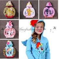 Wholesale My Little Pony Hoodies Fashion Girls Big Size Children Outerwear Pony Jackets Coat Zipper Hoodies Clothing Roupas Infantil Plus Sizes M17