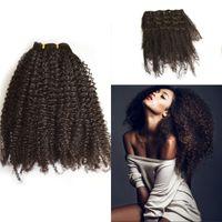 Dark Brown african american extensions - Clip In Human Hair Extensions Indian Virgin Hair Afro Kinky Curly Clip Ins for African American set FDSHINE HAIR