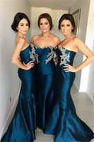 Cheap Sweetheart Mermaid Stretch Satin 2016 Cheap Bridesmaid Dresses Strapless Wedding Dress Evening Dress Prom Dresses Pageant Dresses