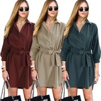 adult clothing stores - S XL Autumn womens Korean fashion shirt dresses with sashes women loosen casual plain midi v neck dress cheap clothing store
