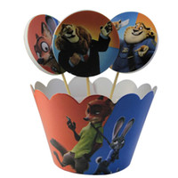 Wholesale PrettyBaby Zootopia theme peper cake cups Judy and Nick more figures printed kichen bakeware cupcake cups