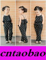 Wholesale Promotion Girls Casual Sling Clothing Sets romper baby Lovely Heart Shaped jumpsuit cargo pants bodysuits kids clothing children Outfit