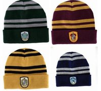 Wholesale Pretty Harry Potter Magic school Hats Fashion striped Gryffindor Hufflepuff Slytherin Halloween cosplay Caps Beanie Skull Caps snapback hats