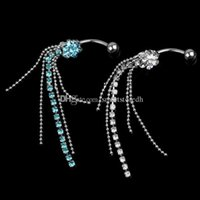 belly button cards - 2 x Steel Rhinestone Flower Dangle Navel Belly Ring Bar Piercing Jewelry C00511 CARD