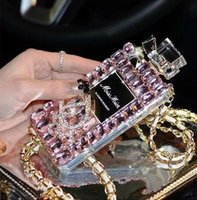 al por mayor iphone rosa bling-Caja de lujo del teléfono celular de la botella de perfume de Bling del diamante para el iphone 6, iphone 6 más, iphone 5 / 5s, iphone4 / 4s, nota4 de Samsung, note3, color rosado