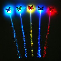 Wholesale 600pcs Fast Shipping Butterfly LED Fiber Optic Lights up Flashing Hair Flash Barrettes Clip braids Party Christmas Supplies