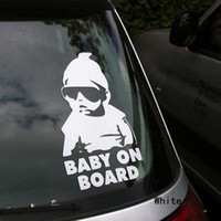 baby car stickers - Fashion Lovely Baby On Board Warning Decal Reflective Waterproof Car Window Vinyl Stickers Color Black White