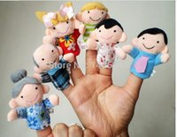 Wholesale Cheap Puppets For Children - brinquedo fantoche cheap hand puppets 6pcs Family Finger Puppet Plush Telling Dolls For Children hand puppet boy