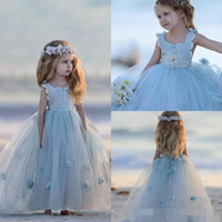 beach feathers - 2017 Light Blue Flower Girl Dresses For Beach Couontry Weddings Appliques Long Floor Length Lace Ball Gown Communion Kids Pageant Gowns