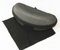Wholesale 100 NEW FOR SUNGLASSES BLACK ZIPPER CASE BOX AND CLEANING CLOTH TOP QUALITY FAST SHIP