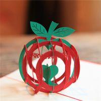 apple invitations - 10pcs Laser Cut Wedding Party Invitations D Cubic Apple Christmas Card Custom Postcards