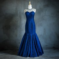 Wholesale High Neck Beaded Crystal Lace Mermaid Prom Evening Dress Sheer Back Long Party Gowns Elegant