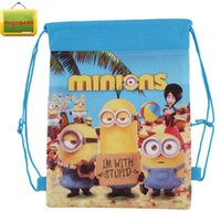 Wholesale New Style Despicable Me Minions Kids Cartoon Drawstring Bag Children Backpacks Cute School Bags Mochila Infantil For Gift Bag