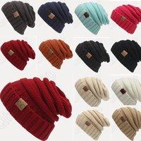 12 mujeres de los hombres del color hicieron punto el sombrero CC Trendy Invierno caliente de gran tamaño grueso trenzado Knit Slouchy Beanie ganchillo sombreros PPA454