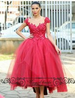Wholesale Ball Gown Red Prom Dresses Cap Sleeves Tea Length Backless Carpet dressed Formal Gown custom Made