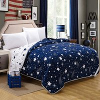 Wholesale microfiber fabric summer quilts comforter printed starry three sizes for adults