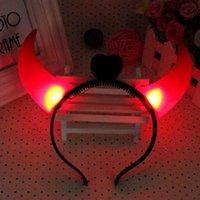Wholesale 30pcs LED Cheer Flashing Devil Horn Hairbands Luminous Glowing Headband Halloween Christmas Party Decoration