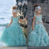 Wholesale Cheap Ruffles Flower Girls Dresses For Weddings Crystal Jewel Neck Kids Formal Wear Floor Length Girl s Pageant Dress