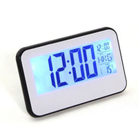 alarm temp light clock - Digital Voice Control Back Light LCD Clock Calendar Temp White Black Alarm Display