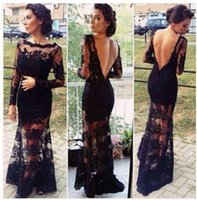 Wholesale hot sale Sheer lace Long sleeves evening dress with bateau emerald green prom dresses mermaid celebrity vestidos de fiesta evening gowns