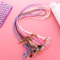 Wholesale Luxury Bling Phone Lanyard Straps Fashion Diamond Shiny Cell Phone Charms Colorful Jewelry Rhinestone Long Neck ID Cards Mobile Chain