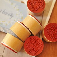 Wholesale Popular Handwriting Wish Sentiment Wooden Rubber Round Stamp Floral Choose Word