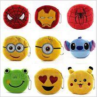 Wholesale Kids Minions Pikachu Coin Purses Spiderman Ironman Keychain Emoji Wallet Superman Change Pocket Poke Card Holder Organizer Key Bag B764