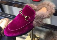 Wholesale 2016 fall womens black Purple velvet Casual fashion slip on gold buckle Loafers Moccasins Natural Rabbit fur lined slippers Driving shoes