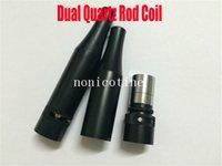 Wholesale Dual Quartz Rod Coils W5 airflow Atomizer Vaporizer wax Dual Quartz Coils Rebuildable Black Metal Vaporizer vs ceramic donut atomizer