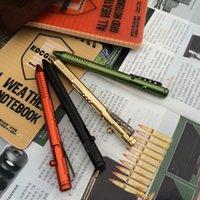 aluminum pull - EDC Gear P Self Defense Pull Bolt Brass Pen Aluminum Tactical Pen Attack Survival Pen CNC Process Camping Tool Write Pen