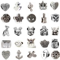 Wholesale Mix Kinds Alloy Charm Bead Retro Big Hole Silver Plated Fashion Women Jewelry European Style For Pandora Bracelet Necklace Promotion