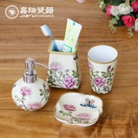 ceramic pieces - 4pcs set hand painted Floral birds pattern ceramic bathroom set sanitary ware Hotel amenities kit bathroom accessories
