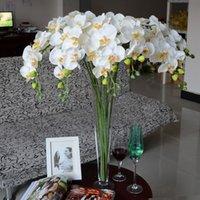 artificial garden plants - DHL Free Romantic Artificial White Phalaenopsis Flowers Color Vine Wedding Decorative Long Silk Plant Bouquet Garden Bridal Accessories