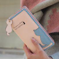 american standard cat - Fashion cartoon cat wallet for women new ladies brand designer long leather wallet zipper purse card holder wallet clutch bag
