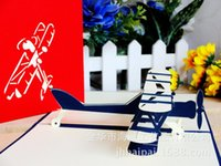 aircraft logos - Aircraft Three dimensional Originality Children Greeting Card DIY Manual Blessing Card Can Jing LOGO