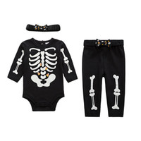 baby skeleton costume - Baby Halloween Costume Skeleton Glow Romper Set Long Sleeve Infant Clothing Kids Jumpsuit Overalls Newborn Baby Clothes