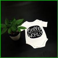 all'ingrosso dark and lovely-pagliaccetti del bambino ciao lettere mondo della stampa di colore verde scuro o nero tute del neonato di alta qualità infantili bambini belli tute