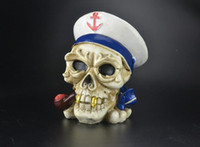 Wholesale Skeleton Sailor Navy Ashtray oil rig glass bongs water pipe thick pyrex mini heady liquid sci water pipe color random delivery