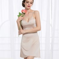 Wholesale Women Full Slips REAL SILK Sexy slip Solid V deep neck Anti emptied Padded bra slips new underwear Comfortable sleep dress