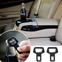 Wholesale Automobiles Safety Belt Fasteners Auto Buckle Dual usage Seat Belt Clips for Cars Beer Soda Bottles Opener